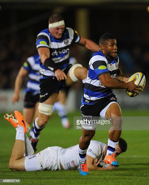 Bath centre Kyle Eastmond makes a break to set up the first try during the Aviva Premiership match between Bath Rugby and Saracens at Recreation...