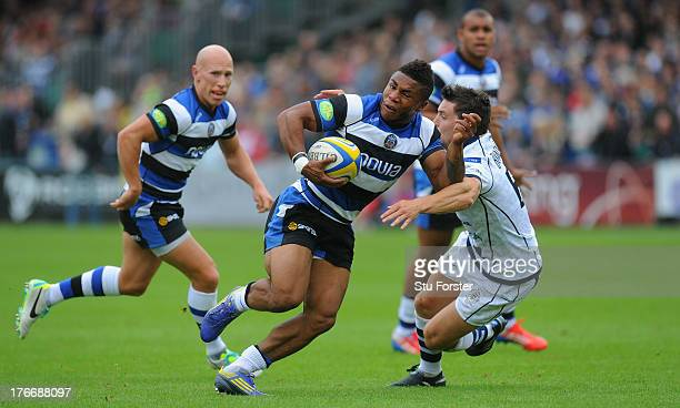 Bath centre Kyle Eastmond races through to score during the Pre season match between Bath and Bristol at the Recreation Ground on August 17, 2013 in...