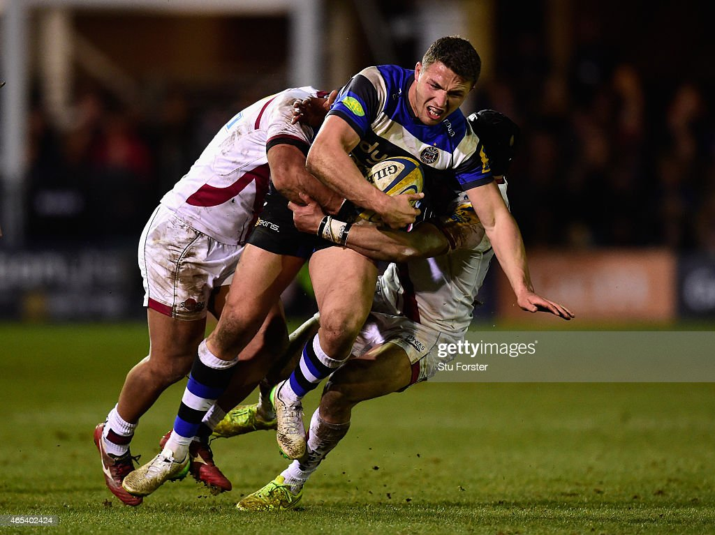 Bath centre Sam Burgess runs through the Sale defence during the Aviva Premiership match between Bath Rugby and Sale Sharks at Recreation Ground on March 6, 2015 in Bath, England.