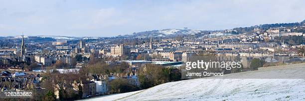 Bath City Skyline from Bathwick Hill in Winter. Somerset. England. UK