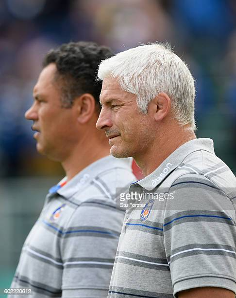Bath Director of Rugby Todd Blackadder and head coach Tabai Matson look before the Aviva Premiership match between Bath Rugby and Newcastle Falcons...
