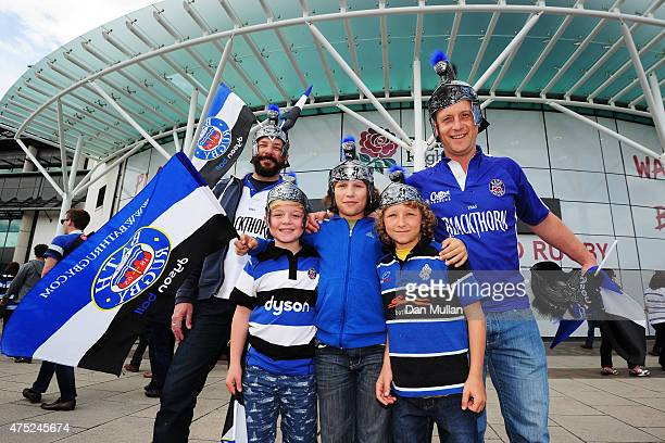 Bath fans enjoy the pre match atmosphere during the Aviva Premiership Final between Bath Rugby and Saracens at Twickenham Stadium on May 30 2015 in...