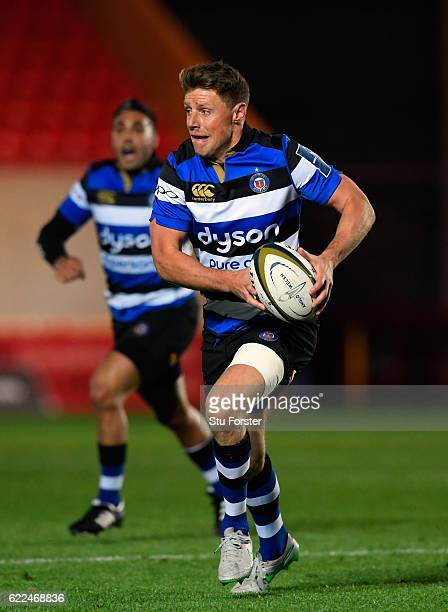 Bath fly half Rhys Priestland in action during the AngloWelsh Cup match between Scarlets and Bath at Parc y Scarlets on November 11 2016 in Llanelli...