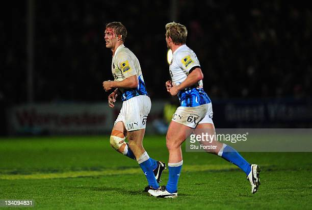 Bath forward Lewis Moody leaves the field with an injury during the Aviva Premiership match between Worcester Warriors and Bath at Sixways Stadium on...