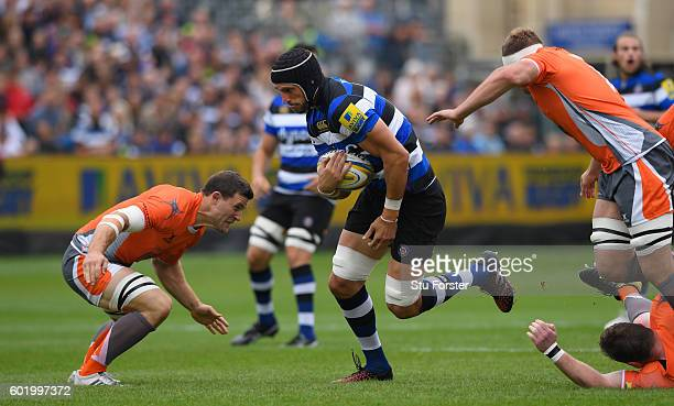 Bath forward Luke Charteris makes a run during the Aviva Premiership match between Bath Rugby and Newcastle Falcons at Recreation Ground on September...