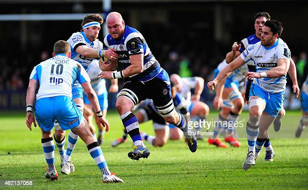 Bath forward Matt Garvey runs at the Glkasgow defence during the European Rugby Champions Cup match between Bath Rugby and Glasgow Warriors at...