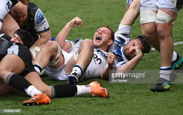 Bath forward Sam Underhill celebrates after Bath score their 6th try during the Gallagher Premiership Rugby match between Newcastle Falcons and Bath...