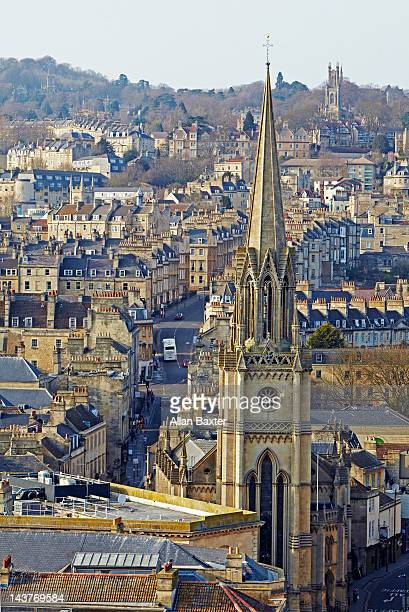 bath from bath abbey - bath england stock pictures, royalty-free photos & images