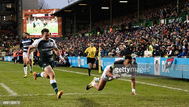 Bath fullback Anthony Watson goes over for the first try during the Aviva Premiership match between Leicester Tigers and Bath at Welford Road on...