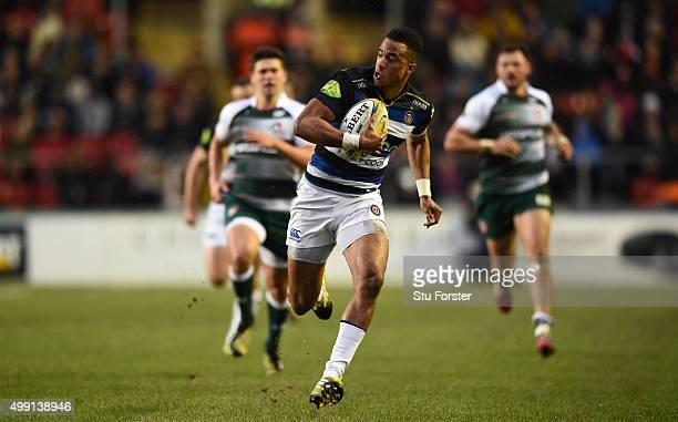 Bath fullback Anthony Watson races away to score the first try during the Aviva Premiership match between Leicester Tigers and Bath at Welford Road...