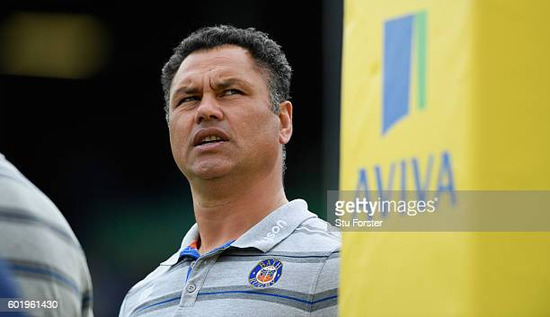 Bath head coach Tabai Matson looks on before the Aviva Premiership match between Bath Rugby and Newcastle Falcons at Recreation Ground on September...