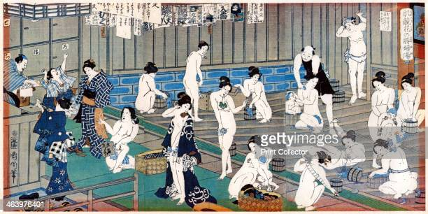 Bath house scene a print by Toyohara Kunichika 19th century Toyohara Kunichika was a Japanese artist who worked in both the Edo and Meiji eras a...