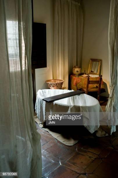 Bath in the bedroom of the Museum House of Miguel de Cervantes author of Don Quixote in Alcala de Henares province and Autonomous Community of Madrid...