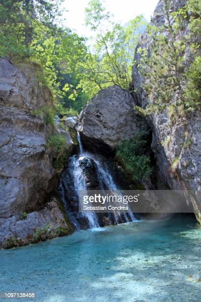 bath of zeus, waterfall,discovering greece - lord bath stock pictures, royalty-free photos & images