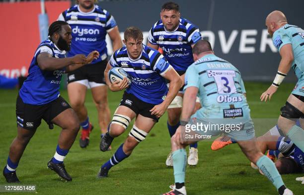 Bath player Charlie Ewels races towards Gloucester prop Fraser Balmain during the Gallagher Premiership Rugby match between Bath Rugby and Gloucester...