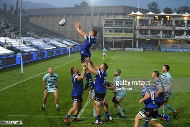 Bath player Charlie Ewels wins a lineout ball during the Gallagher Premiership Rugby match between Bath Rugby and Gloucester Rugby at The Rec on...