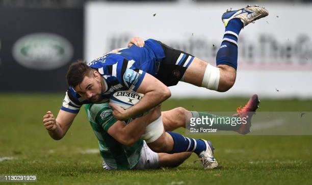 Bath player Elliott Stooke in action during the Gallagher Premiership Rugby match between Bath Rugby and Newcastle Falcons at Recreation Ground on...