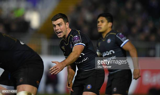 Bath player George Ford reacts during the European Rugby Challenge Cup match between Bath Rugby and Cardiff Blues at The Recreation Ground on...