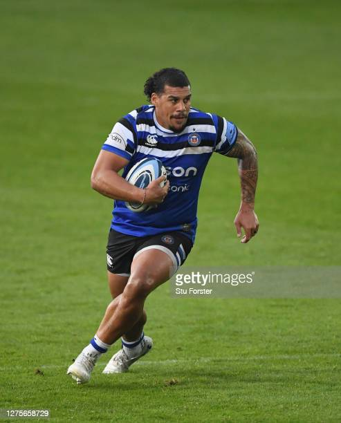 Bath player Josh Matavesi in action during the Gallagher Premiership Rugby match between Bath Rugby and Gloucester Rugby at The Rec on September 22...