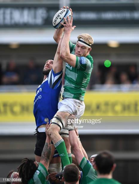 Bath player Luke Charteris and Andrew Davidson of Newcastle challenge for a lineout ball during the Gallagher Premiership Rugby match between Bath...