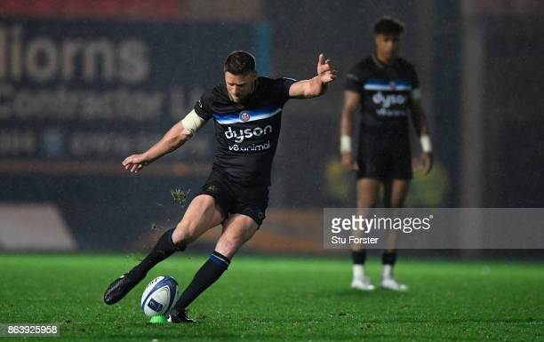 Bath player Rhys Priestland kicks a penalty during the European Rugby Champions Cup match between Scarlets and Bath Rugby at Parc y Scarlets on...