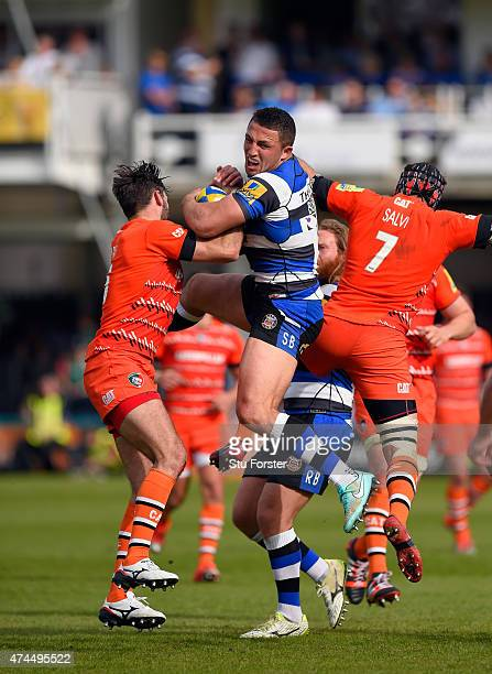 Bath player Sam Burgess wins a high ball during the Aviva Premiership semi final match between Bath Rugby and Leicester Tigers at Recreation Ground...