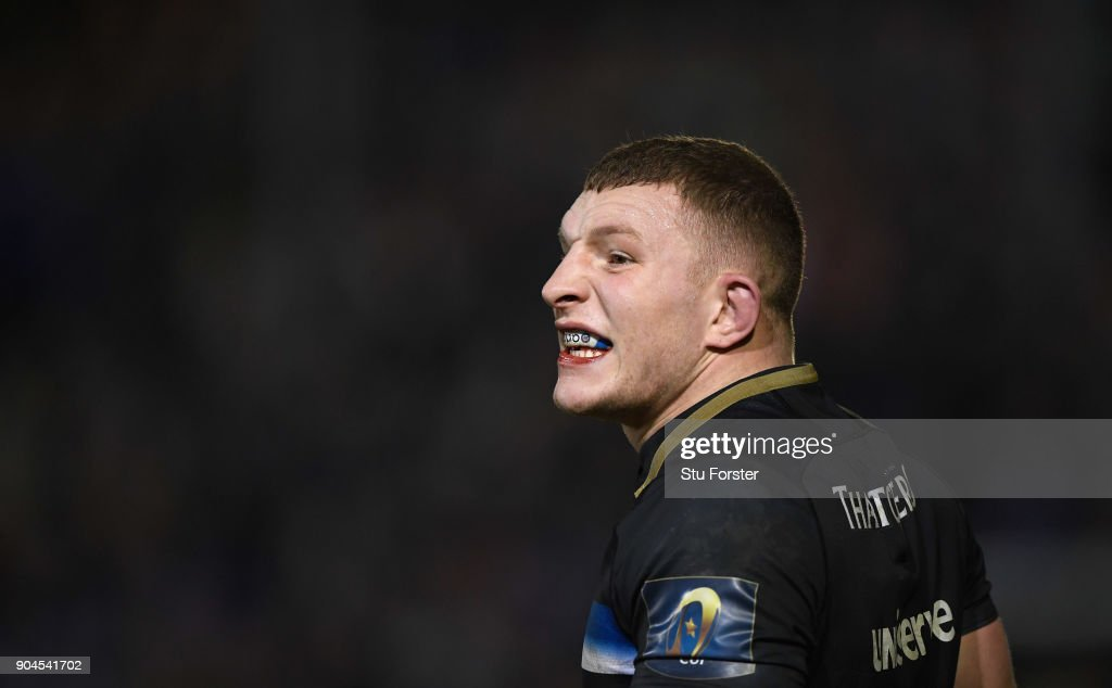 Bath player Sam Underhill reacts during the European Rugby Champions Cup match between Bath Rugby and Scarlets at Recreation Ground on January 12, 2018 in Bath, England.