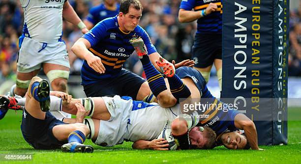 Bath player Stuart Hooper crosses for the second try during the European Rugby Champions Cup Quarter Final match between Leinster Rugby and Bath...