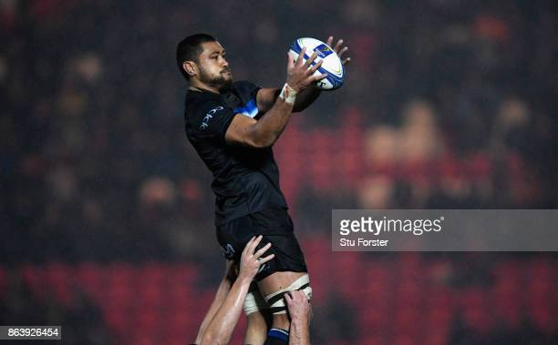 Bath player Taulupe Faletau wins a line out ball during the European Rugby Champions Cup match between Scarlets and Bath Rugby at Parc y Scarlets on...