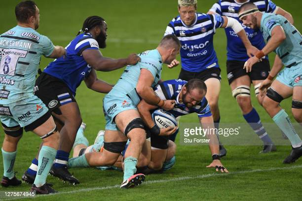 Bath player Tom Dunn in action during the Gallagher Premiership Rugby match between Bath Rugby and Gloucester Rugby at The Rec on September 22 2020...