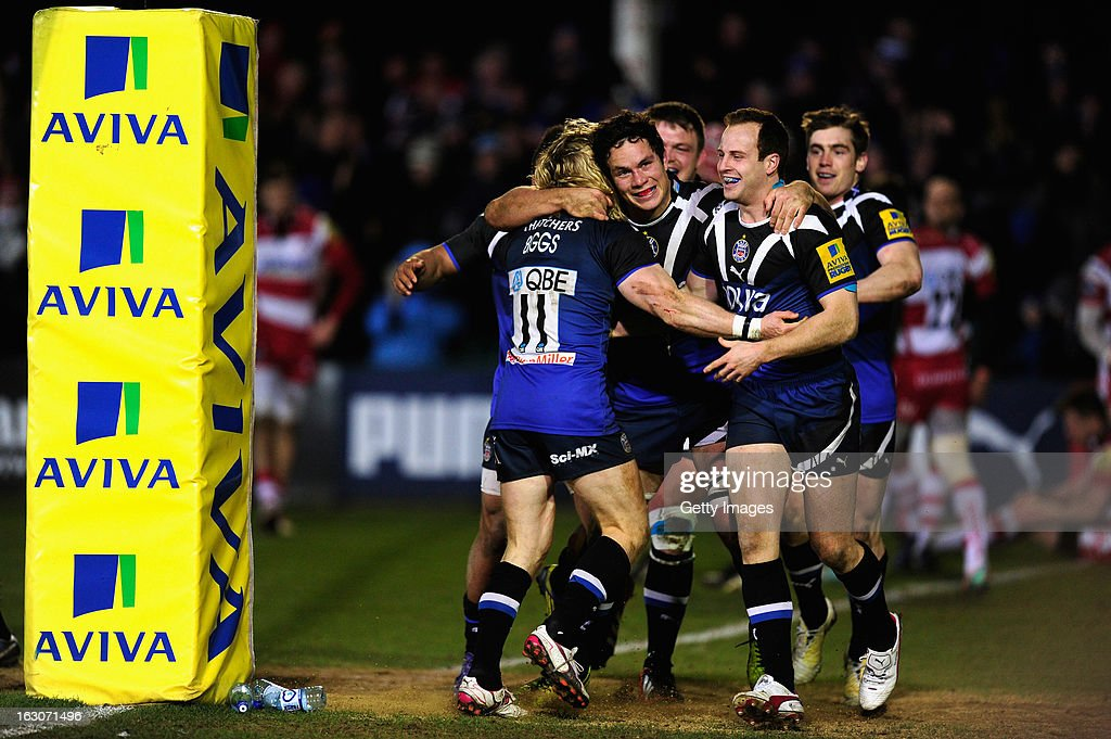 Bath players celebrate a Tom Biggs Try during the Aviva Premiership match between Bath and Gloucester at Recreation Ground on March 1, 2013 in Bath, England.