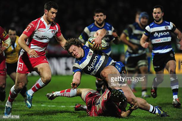 Bath replacement Nick Auterac is stopped just short of the line during the Aviva Premiership match between Gloucester Rugby and Bath Rugby at...