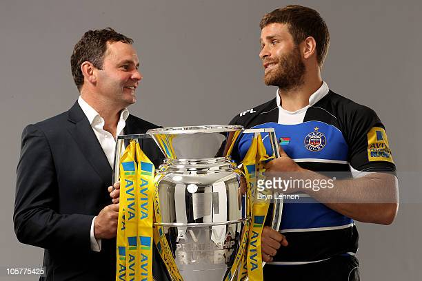 Bath Rugby captain Luke Watson and head coach Steve Meehan pose with the Aviva Premiership trophy during the Aviva Premiership Season Launch at...