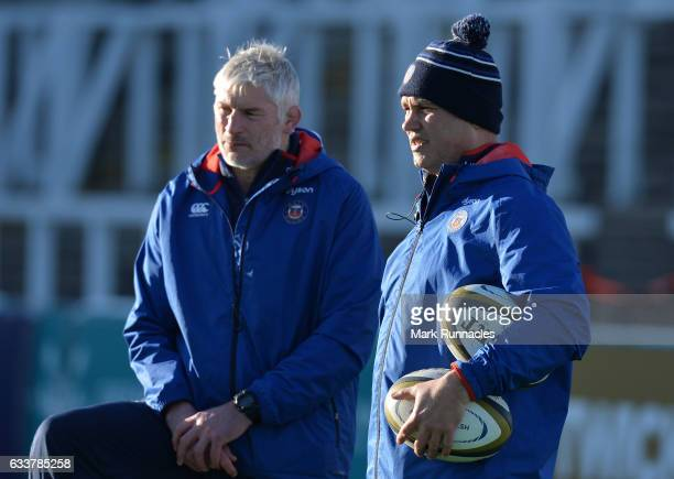 Bath Rugby Head Coach Tabai Matson talks with Bath Rugby Director of Rugby Todd Blackadder during the AngloWelsh Cup match between Newcastle Falcons...