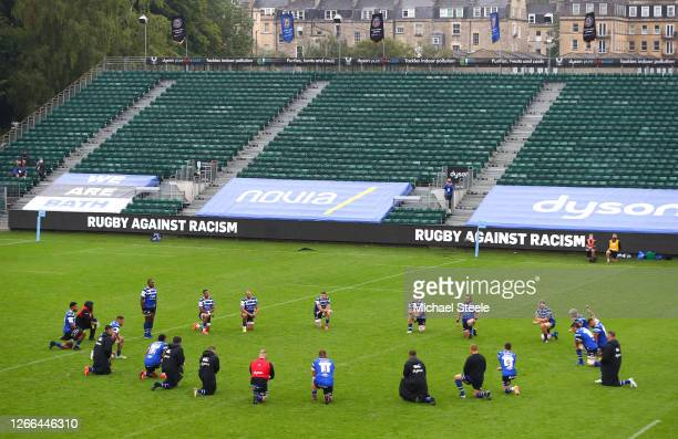 Bath Rugby players 'take the knee' in support of the Black Lives Matters movement prior to the Gallagher Premiership Rugby match between Bath Rugby...