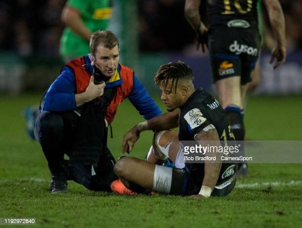 Bath Rugby's Anthony Watson receives treatment during the Heineken Champions Cup Round 5 match between Bath Rugby and Harlequins at Recreation Ground...