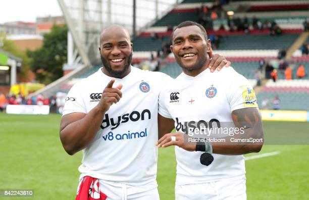 Bath Rugby's Beno Obano and Bath Rugby's Semesa Rokoduguni during the Aviva Premiership match between Leicester Tigers and Bath Rugby at Welford Road...