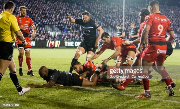 BATH ENGLAND DECEMBER Bath Rugby's Beno Obano scores his side's first try during the European Rugby Champions Cup match between Bath Rugby and RC...