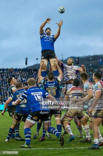 Bath Rugby's Charlie Ewels claims the lineout during the Gallagher Premiership Rugby match between Bath Rugby and Leicester Tigers at Recreation...