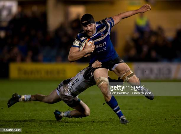 Bath Rugby's Charlie Ewels in action during the Premiership Rugby Cup match between Bath Rugby and Gloucester Rugby at Recreation Ground on February...