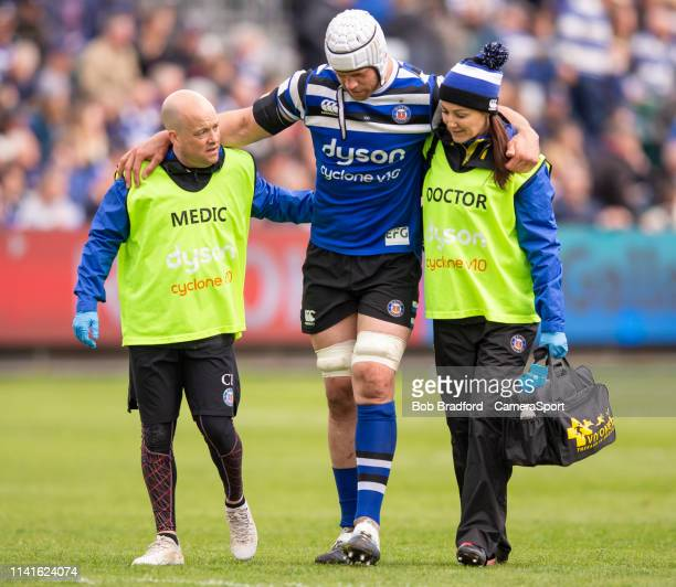 Bath Rugby's Dave Attwood receives treatment during the Gallagher Premiership Rugby match between Bath Rugby and Wasps at Recreation Ground on May 5...