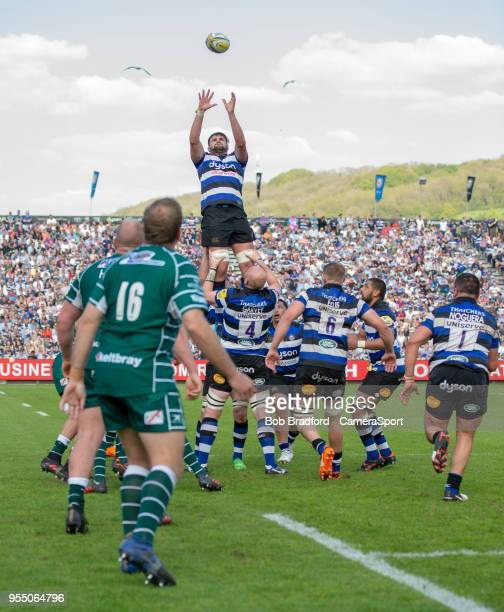 Bath Rugby's Elliott Stooke claims a line out during the Aviva Premiership match between Bath Rugby and London Irish at Recreation Ground on May 5...