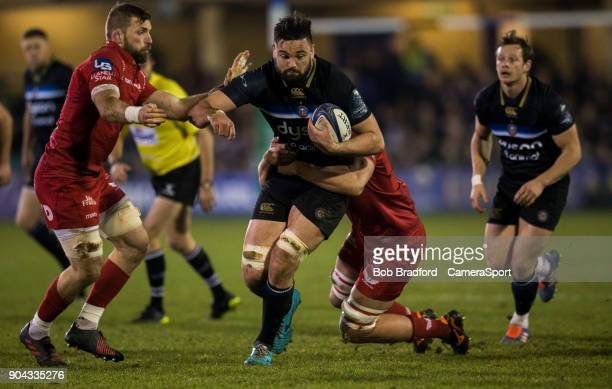 Bath Rugby's Elliott Stooke in action during the European Rugby Champions Cup match between Bath Rugby and Scarlets at Recreation Ground on January...