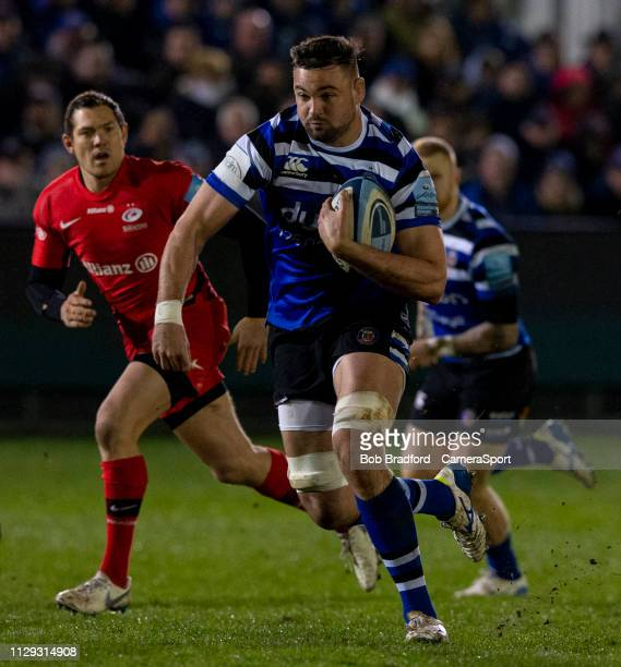Bath Rugby's Elliott Stooke in action during the Gallagher Premiership Rugby match between Bath Rugby and Saracens at Recreation Ground on March 8,...