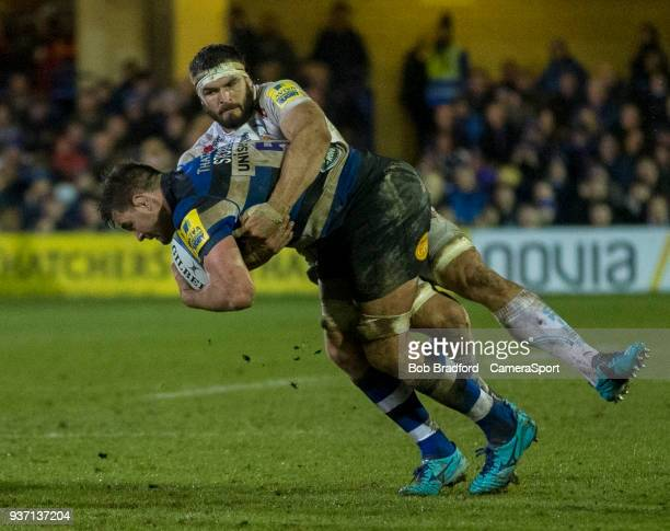 Bath Rugby's Elliott Stooke is tackled by Exeter Chiefs' Don Armand during the Aviva Premiership match between Bath Rugby and Exeter Chiefs at...