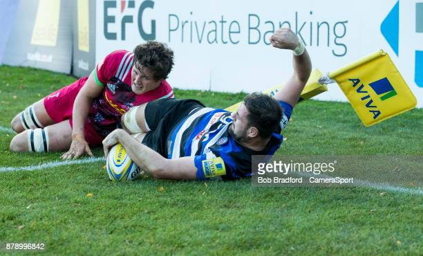 BATH ENGLAND NOVEMBER Bath Rugby's Elliott Stooke scores his sides third try during the Aviva Premiership match between Bath Rugby and Harlequins at...
