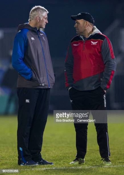 Bath Rugby's Head Coach Todd Blackadder and Scarlets Head Coach Wayne Pivac during the European Rugby Champions Cup match between Bath Rugby and...