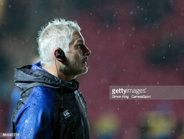 Bath Rugby's Head Coach Todd Blackadder during the pre match warm up during the European Rugby Champions Cup match between Scarlets and Bath Rugby at...