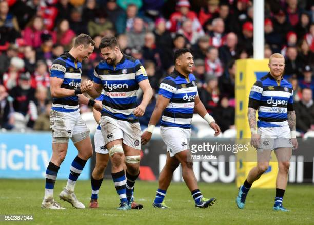 Bath Rugby's James Wilson with teammate Bath Rugby's Elliott Stooke during the Aviva Premiership match between Gloucester Rugby and Bath Rugby at...