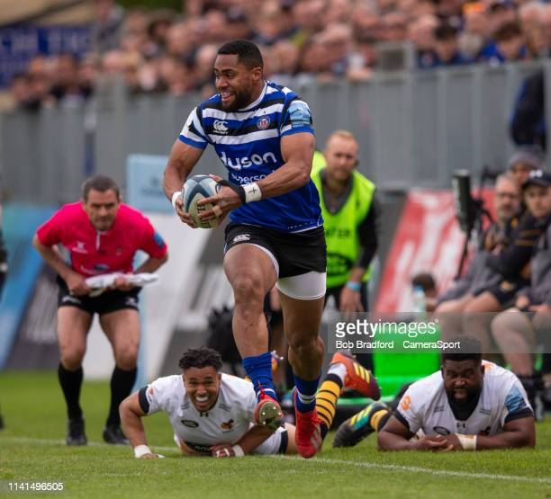 Bath Rugby's Joe Cokanasiga in action during the Gallagher Premiership Rugby match between Bath Rugby and Wasps at Recreation Ground on May 5 2019 in...